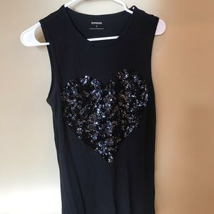 Express black tank with sparkly heart on front.
